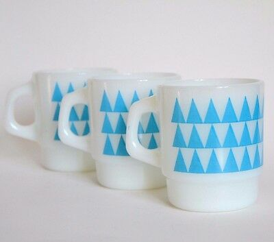 3 Fire King Anchor Hocking stackable cup milk glass blue triangle vintage mug