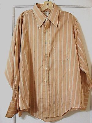 Mens Vintage 70's shirt size 16 Disco costume HUGE Collar Cuffs NEW Brown White