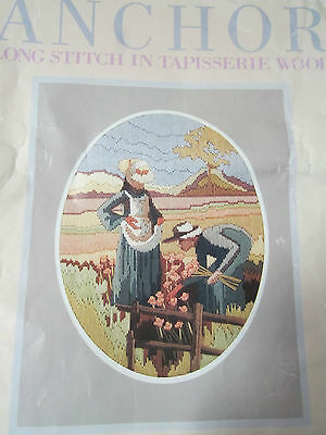 ANCHOR Long Stitch Kit GIRLS PICKING POPPIES kit no. 1000 partly worked