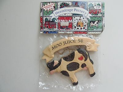 """1994 Hermitage Pottery Ceramic Cow Hanging Decor """"Moo Juice 5 cents"""" Memo Magnet"""