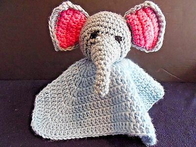 Elephant Baby Security Blankie Animal Toy Handmade Crochet