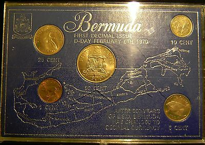 1970 Bermuda 5 Coin Uncirculated First Decimal Mint Set In Hard Case