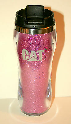 Cat Caterpillar Tractor Farm Constuction Pink Sparkle Travel Mug / Cup New Box