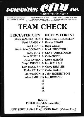 Leicester V Nottingham Forest 1982 Mark Wallington Testimonial