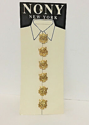Vintage New Unused Card of 6 NONY New York Goldtone 80s Button Covers buttons