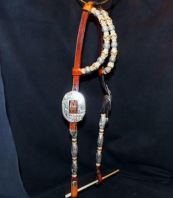 Woods Western Sterling Silver Braided Rawhide Ruby Bronze Buckles Show Headstall