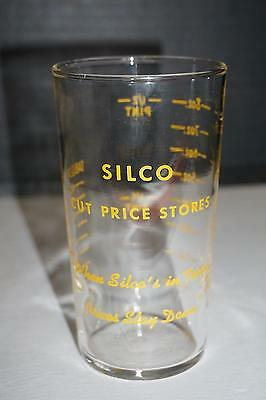 1950s Vintage SILCO Advertising Measuring Glass Promo Cut Price Stores Slogan