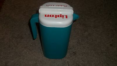 Lipton Iced Tea Half Gallon Tea Pitcher...Plastic...Blue/Green Rare fun