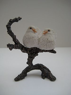 Pair of doves figurine on metal/copper tree branch, decorative bird figurine
