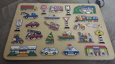24 piece Handcrafted Vehicle Road Sign Places of Interest Interactive Puzzle