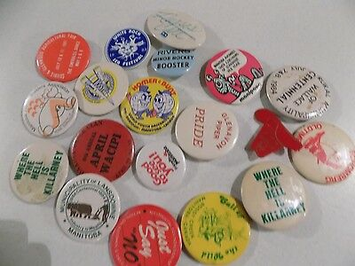 Vtg Pinback Button Badge Lot A14 Manitoba Rivers Gelovan Wallace Mannipogo