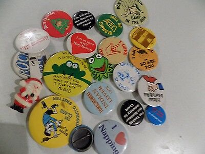 Vtg Pinback Button Badge Lot A13 Novelty Humourous Etc Kermit Santa Nuclear Indu