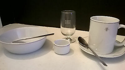 7 Pc Set Amko American Airlines Silver Eagle Bowl Mug Saucer Ramekin Spoon NEW