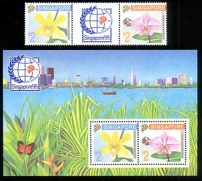 Singapore 1992 Sc. #616a & 616b Flowers pair & S/S MNH