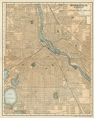 Minneapolis MN Street Map / Plan: Authentic 1903 (Dated) Landmarks, Stations, +