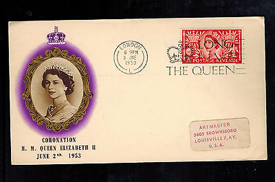 1953 London England First Day Cover QE II  FDC Queen Elizabeth coronation to USA