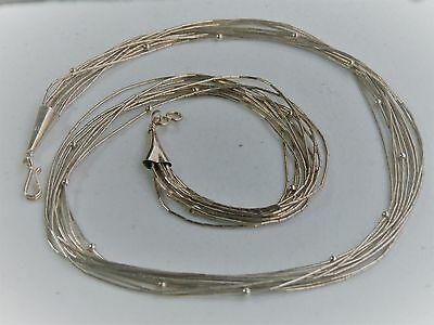 "Southwestern 18"" Sterling Liquid Silver Ten Strand Tiny Bead Station Necklace"