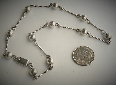 """Taxco Mexico Artisan 17"""" Sterling Silver Bead & Twist Links Necklace"""