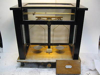Antique Pharmacy Scale in glass case