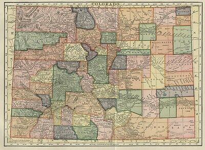 Colorado Map: Authentic 105+ Years Old; Counties, Cities, Towns, Topography, RRs
