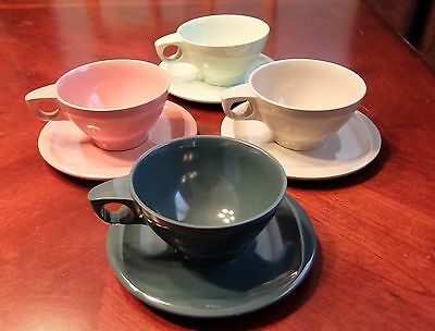 Boontonware Cups and Saucers - Set of 4 Melmac Melamine MCM