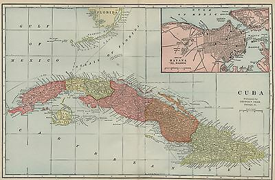 CUBA Map: Authentic 1899; with Cities; Towns; RRs, Topography