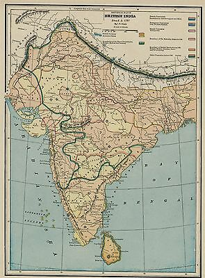 INDIA Map: Shows British Subjugation / Raj 1751-1887: Authentic 1887