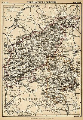 Northampton & Bedford County England: England: Detailed 1889 Map Towns, Cities +