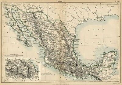 Mexico: Authentic 1889 Map showing States; Cities; Towns; Topography