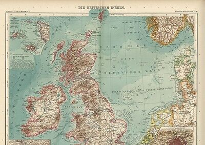 British Isles; FOUR Large, Detailed Sectional Maps with Fine Color: Dated 1908