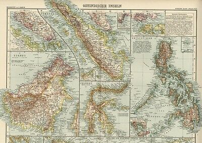 East India Isles Map; Large, Detailed & Dated: 100+ Years Old with Nice Color