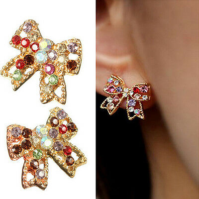 Vogue Noble Charm Colorful Crystal Rhinestone Gold Bowknot Bow Ear Stud Earrings