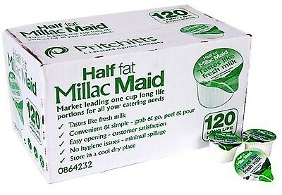 120 Millac Maid Box Long Life Semi Skimmed Milk Portions Catering Sachets