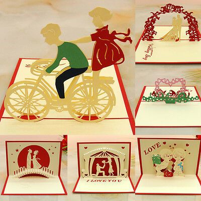 Greeting Cards 3D Pop Up Handmade Card Valentine's Day Theme Lover Message Cards