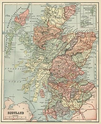 Scotland Map: 1891 / Counties, Towns, Cities, Rivers, RRs, Topography