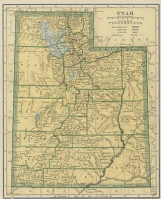 UTAH Map: 100 Years Old showing Counties, Towns, Topography, Railroads