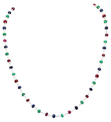 emerald ruby sapphire bead chain in .925 sterling silver-CP1046