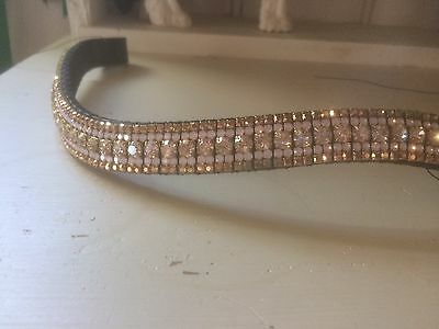 """3/4"""" Curve Dressage Crystal Browband, Gold And Pink Opal! Any Size!"""