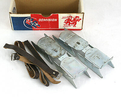 Vintage Adjustable Ice Skates Dominion Patins Leather Straps Canada Boxed