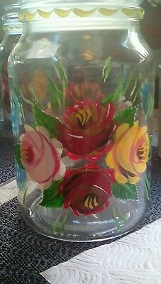 """Set of 3 Painted canal ware Bargeware glass storage jars 7"""" high"""