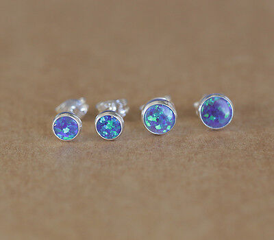 925 Sterling silver stud earrings with Opal stones