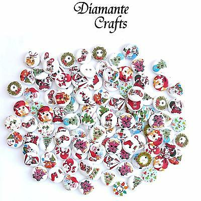100 15mm WOODEN BUTTONS  Xmas Christmas Mix - Card Making Sewing Scrapbook Craft