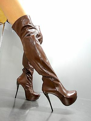 Mori Italy Overknee New High Heel Boots Stiefel Stivali Leather Brown Marrone 38