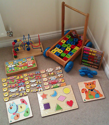 Wooden Toy Bundle Baby Walker, Wooden Blocks, ELC Puzzles, Abacus, Dress Up Set