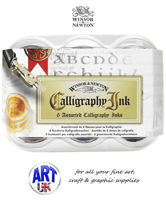 Winsor & Newton Calligraphy INK SET of 6 Colours.For Artists Fountain & Dip Pens