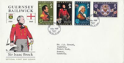 (96148) CLEARANCE GB Guernsey FDC Sir Isaac Brock  1 December 1969