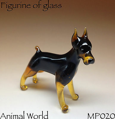 Figurines Dog Doberman Pinscher Blown glass Russian miniature handmade art