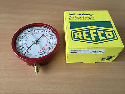 Refco R7-320-M-R407C High Pressure Gauge 100mm 1/4 SAE oil filled bellow gauge