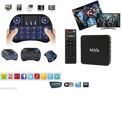 ANDROID BOX SMART TV Mx9 4K STREAMING QUAD CORE 1GB RAM ANDROID +TASTIERA LED