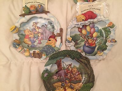 7 Retired Winnie The Pooh Collectors Plates Rare